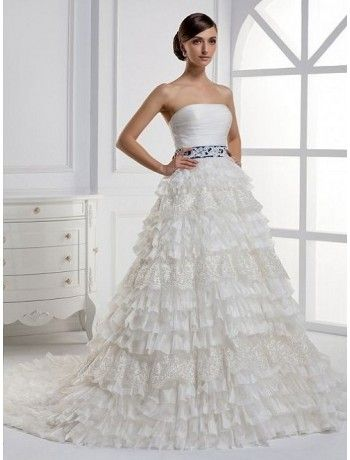 Organza and Lace Strapless A-Line Wedding Dress with Tiered Ruffle Skirt