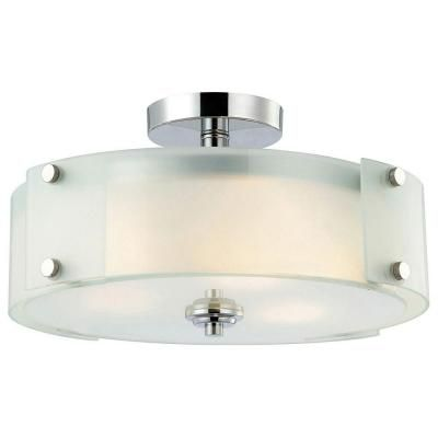 canarm scope 3 light chrome semi flush mount light with frosted