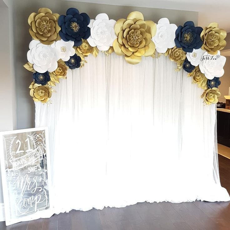 Navy, Gold, And White Paper Flower Backdrop For A Bridal