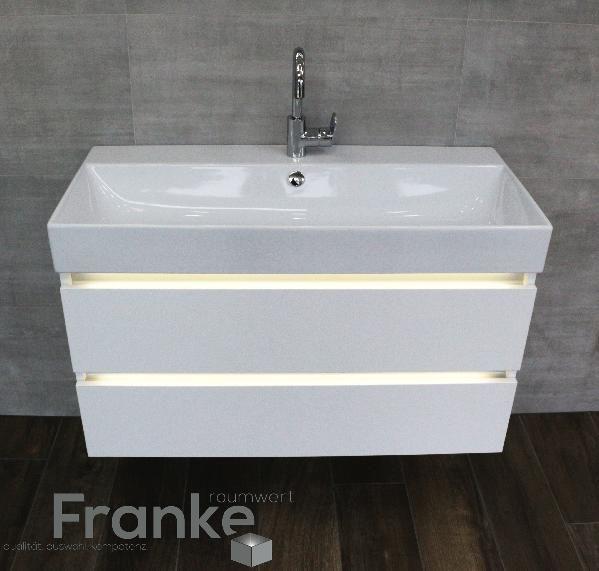 Waschtischanlage mit beleuchteten Unterschrank Serie Coast von - badezimmerschrank mit waschbecken