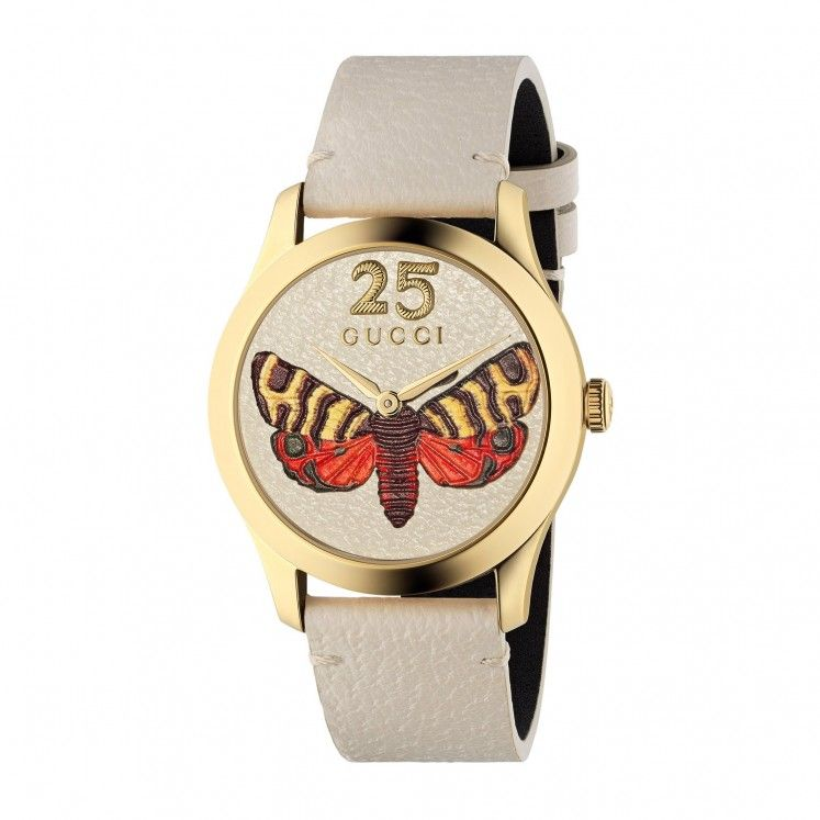 a41d39393f Gucci G-Timeless Moth Dial White Calfskin Leather Strap Ladies ...