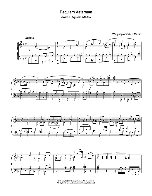 Wolfgang Amadeus Mozart Requiem Aeternam From Requiem Sheet Music Notes Chords Sheet Music Notes Sheet Music Music Notes