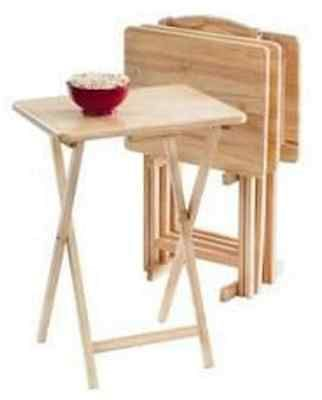 Trays 45505 5 Piece Tv Tray Table Set Wooden Folding Portable Home Furniture Kids Snack  sc 1 st  Pinterest & Trays 45505: 5 Piece Tv Tray Table Set Wooden Folding Portable Home ...