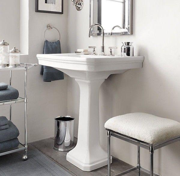 White And Blue Bathroom Contemporary Bathroom Restoration - Bathroom pedestal sinks
