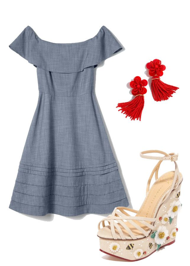 1d8d5cb68f52 How to Be the Best Dressed Guest at Every Wedding This Spring. Casual denim  off-the-shoulder dress  http   www.stylemepretty