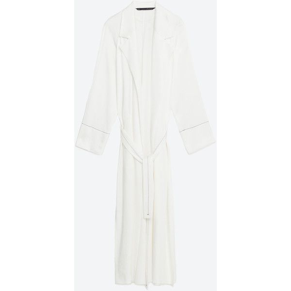 STUDIO TRENCH COAT ($140) ❤ liked on Polyvore featuring outerwear, coats, white coat, white trench coat and trench coat