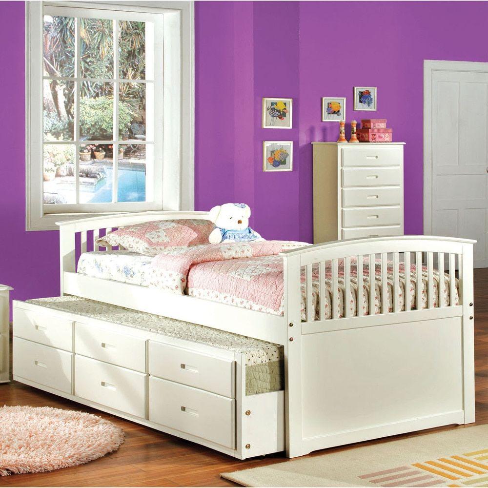 Furniture of America Dali Modern Solid Wood 2piece Bed w