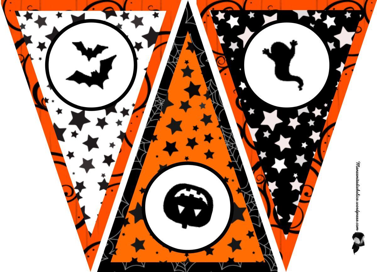 guirnalda para Halloween imprimible tres colores | Mas fuerte, La ...