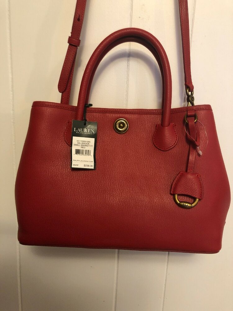 7017f33de1b5 NWT RALPH LAUREN Millbrook Market Tote Satchel Bag RED Leather Purse $238 # RalphLauren #Satchel