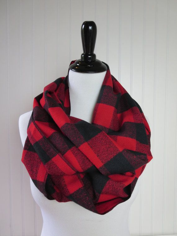 Red and Black Buffalo Plaid Check Scarf -Red Buffalo Plaid ... cb40a28b161