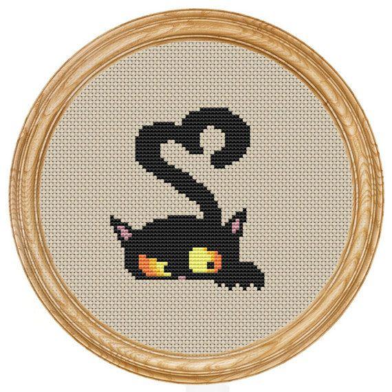 Cross Stitch Pattern PDF heart cat DD0130 di HappyStitches4You