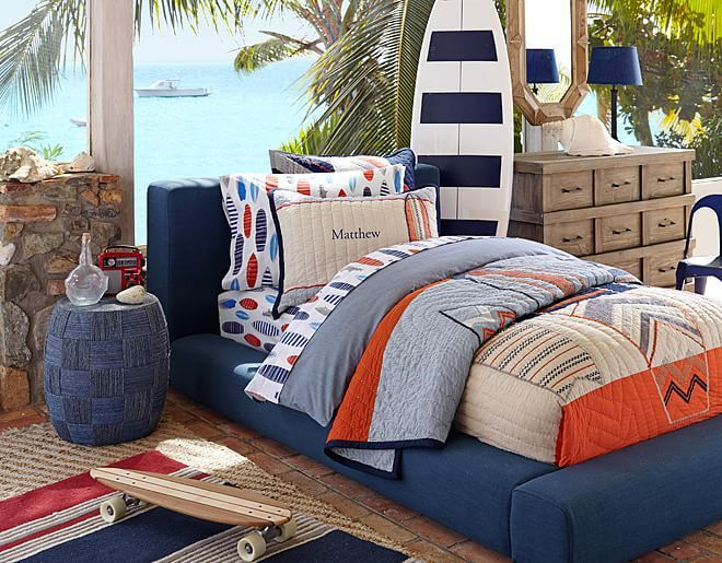 7 Inspiring Kid Room Color Options For Your Little Ones: I Love The Pottery Barn Kids Surf Bedroom On