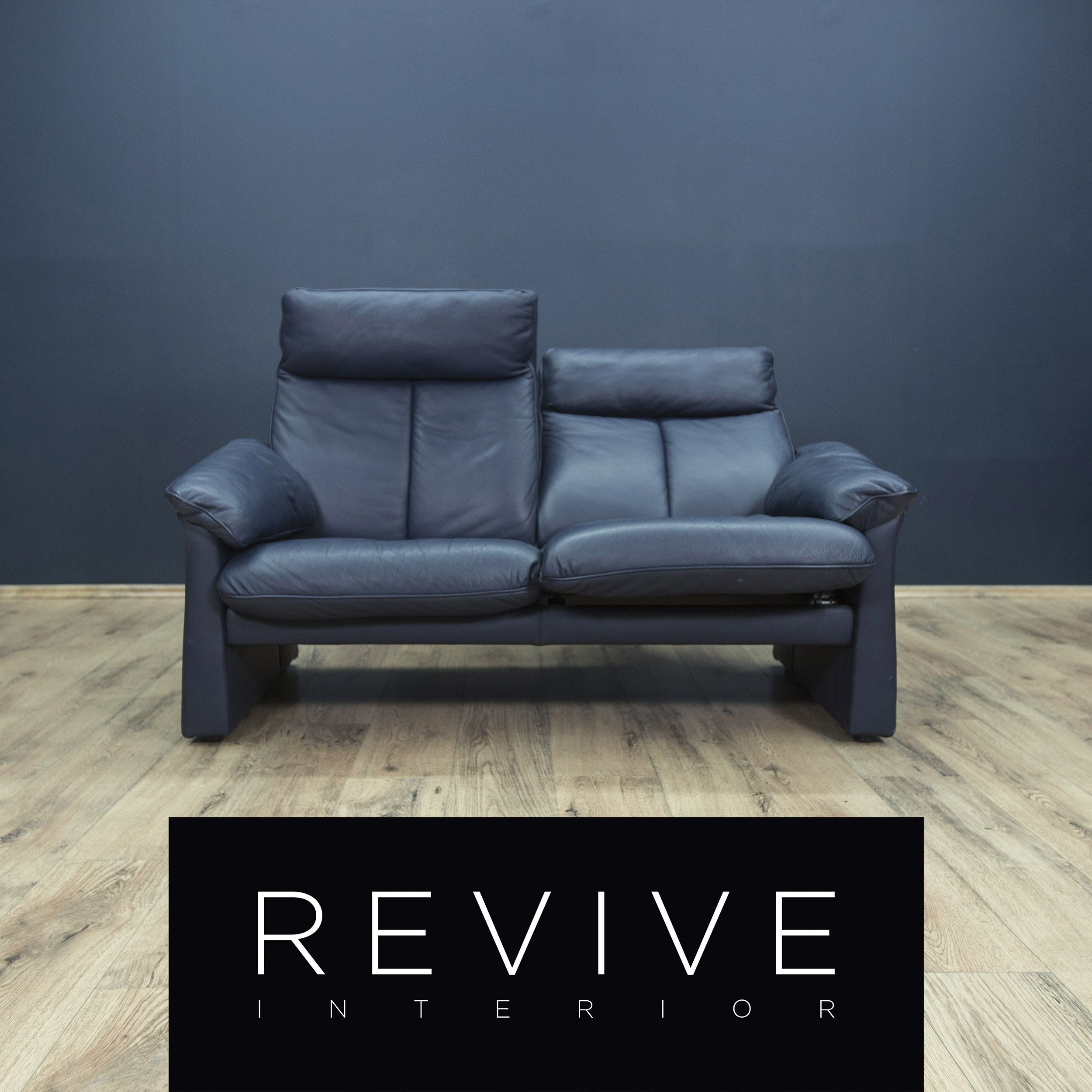 Ledersofa  Laauser Designer Leder Sofa Blau Dreisitzer Couch Relax Funktion ...