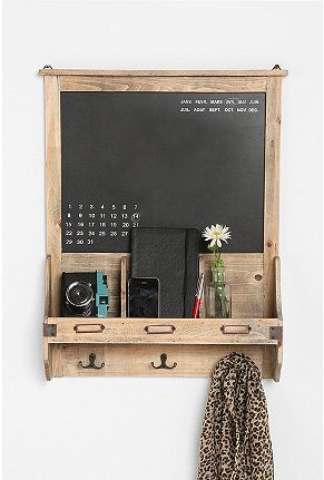 Wood Chalkboard and hooks for KITCHEN
