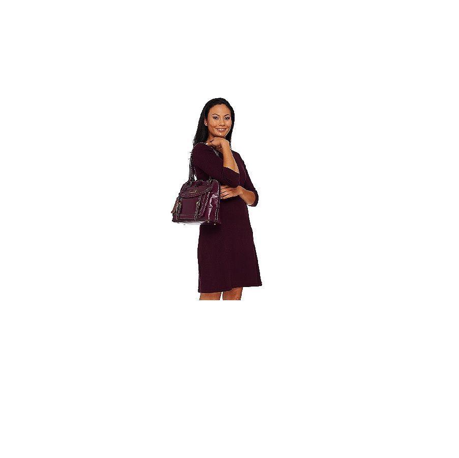 Tignanello A269255 Wine Distressed Vintage Leather RFID Domed Satchel Ladies Bag