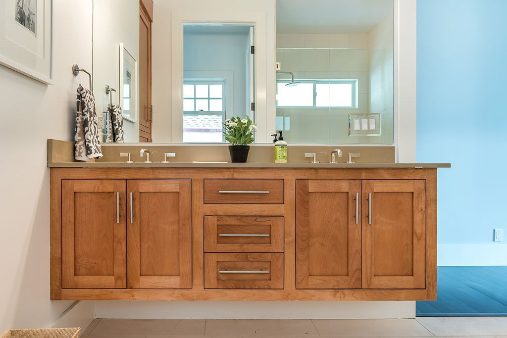 Contemporary Master Bathroom with Flat panel cabinets ...