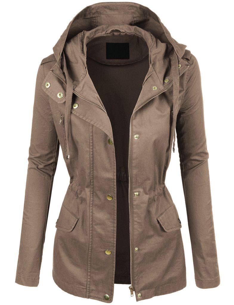 Womens Anorak Jacket with Hood and Drawstring Waist | Green jacket ...