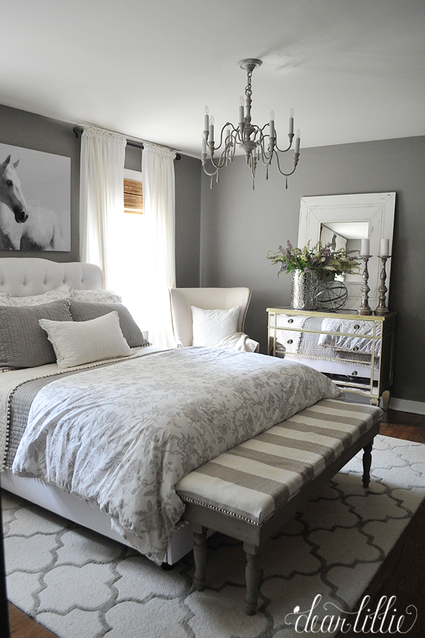How to go glamorous with gray in your guest bedroom for Grey and neutral bedroom
