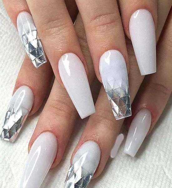 Pin By Nadine On Claws Glamour Nails White Acrylic Nails Coffin Nails Designs