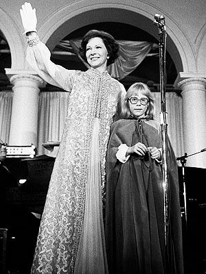 Rosalynn Carter (with daughter Amy) in Mary Matise for Jimmae at the 1977 inaugural ball