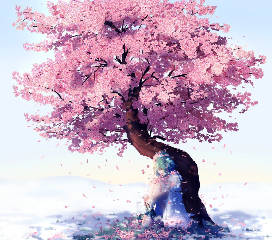 My Oc Ohana The Idea Is That She Is Bringing The Blossoms To An Area Where It Snowed Drawing P Anime Cherry Blossom Cherry Blossom Art Cherry Blossom Painting
