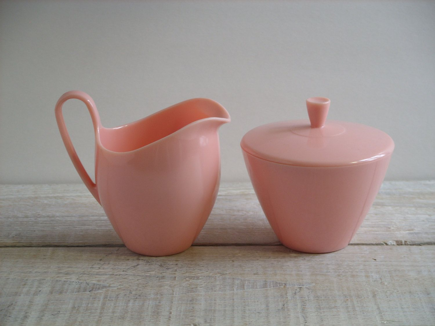 Vintage Pink Melmac Creamer And Sugar Bowl Set ~ Carleton For Gracious  Living ~ Cute Kitchen