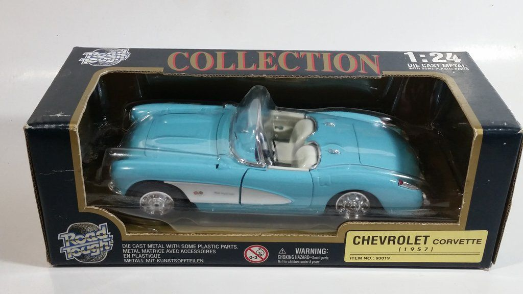 Yatming Road Tough No. 93019 1957 Chevrolet Corvette Convertible Baby Blue 1/24 Scale Die Cast Toy Classic Car Vehicle with Box