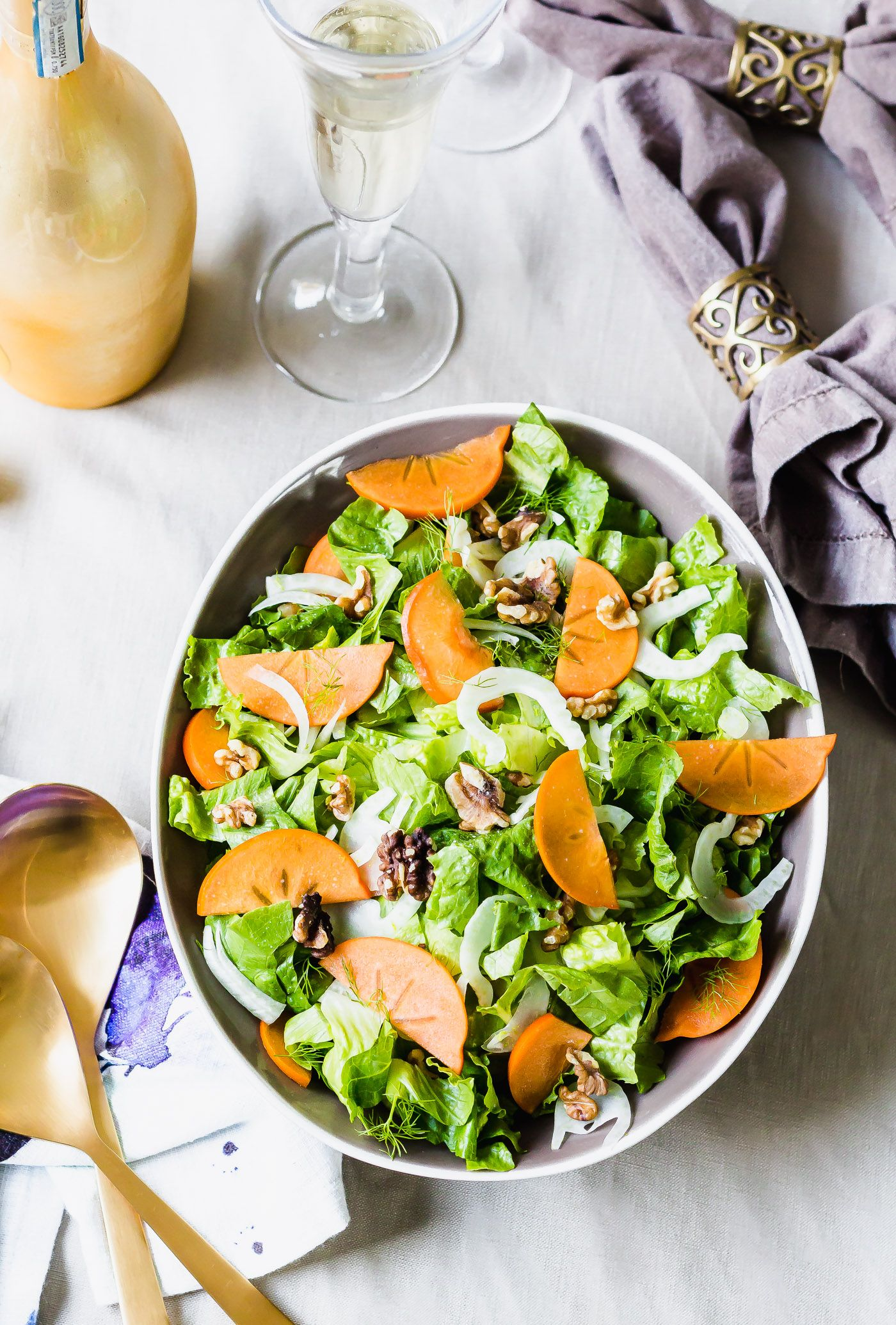 winter romaine salad with champagne vinaigrette | recipe | salads
