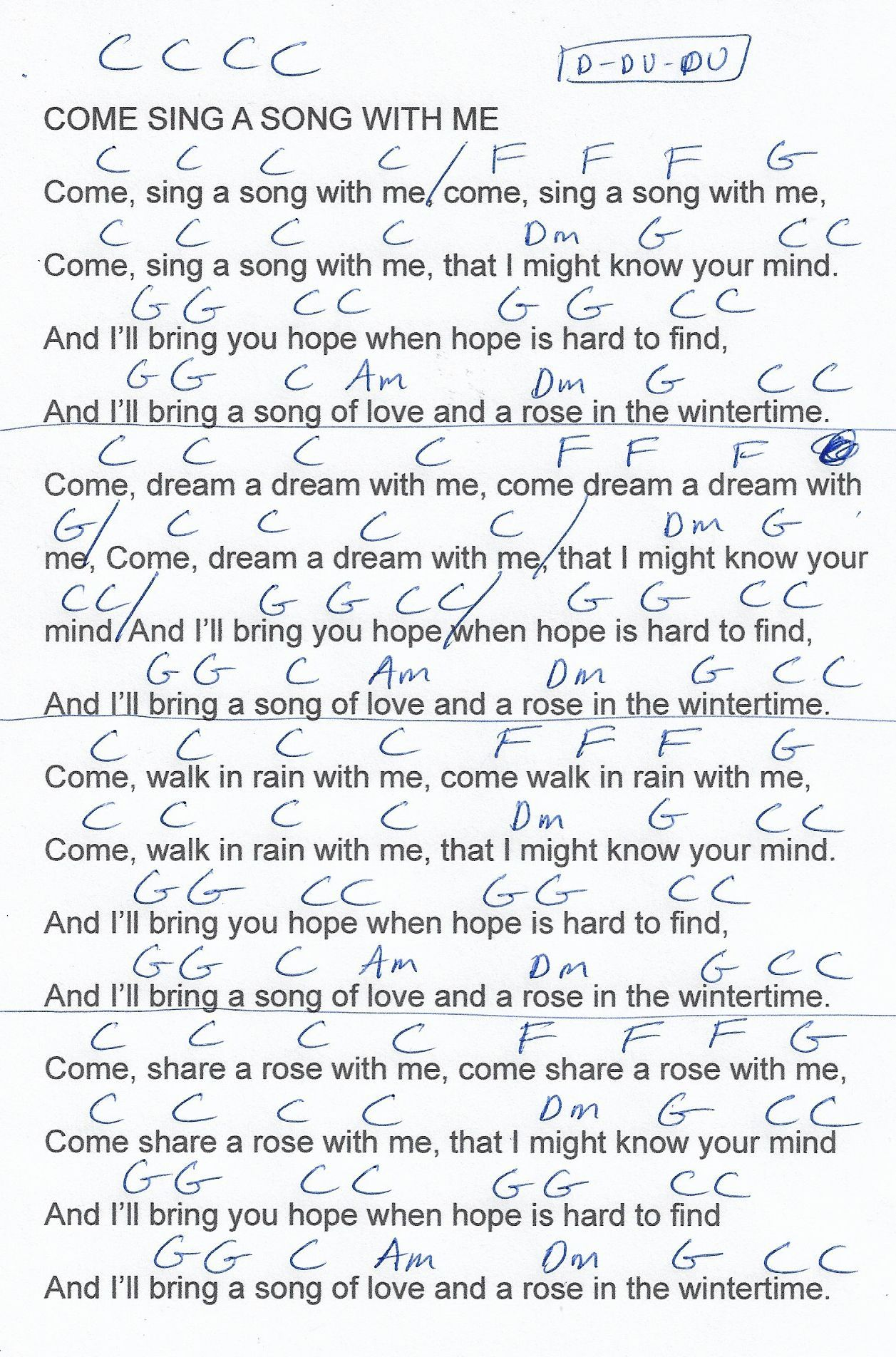 Come Sing A Song With Me Hymn Guitar Chord Chart In C Major 2018