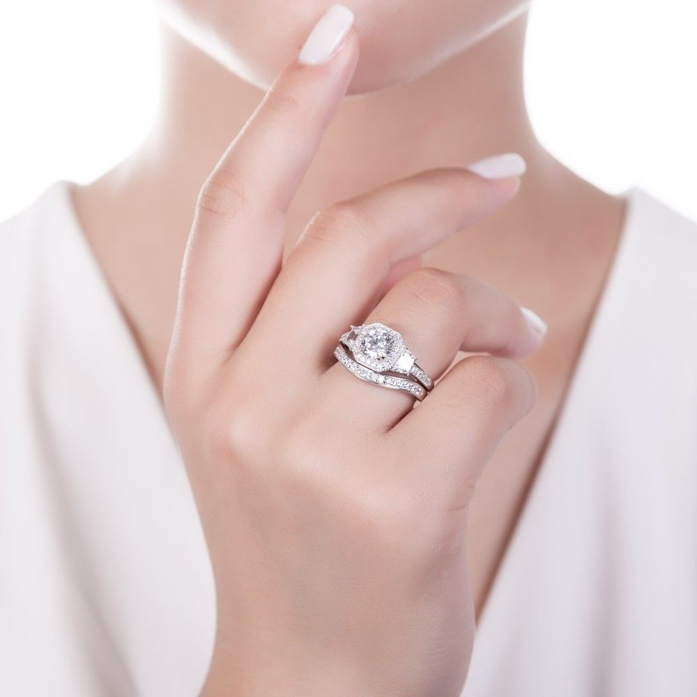 Sterling Silver Round CZ Art Deco Halo Ring Set 2.21 CTW | Halo ...