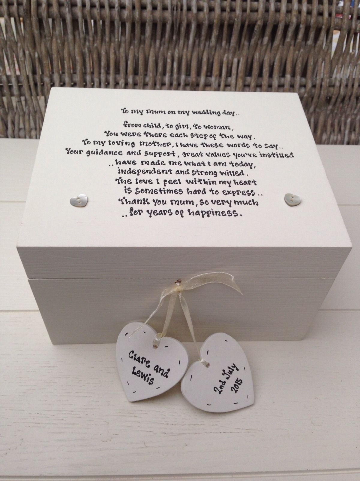 Shabby Personalised Chic Mother Of The Bride Wedding Gift Trinket