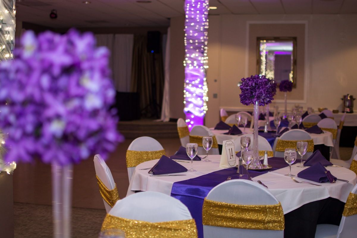 Must Save Purple And Gold Wedding Reception Decor Gold Wedding