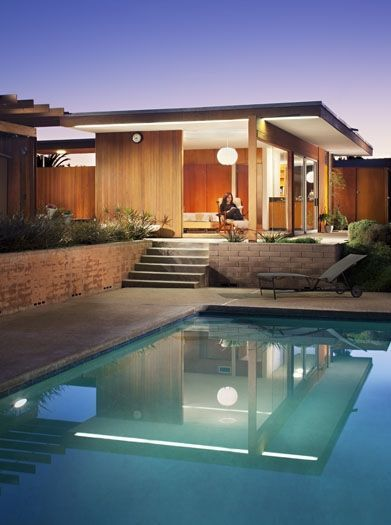 Dream Homes: Notable features of this home include floor-to-ceiling frameless glass, blond birch paneling, built-in furniture, and a spider-leg beam in Alvarado Estates. #BestSDHomes