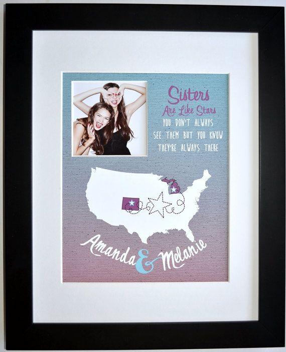 christmas gift for sister custom map art birthday present - Gifts For Sister Christmas