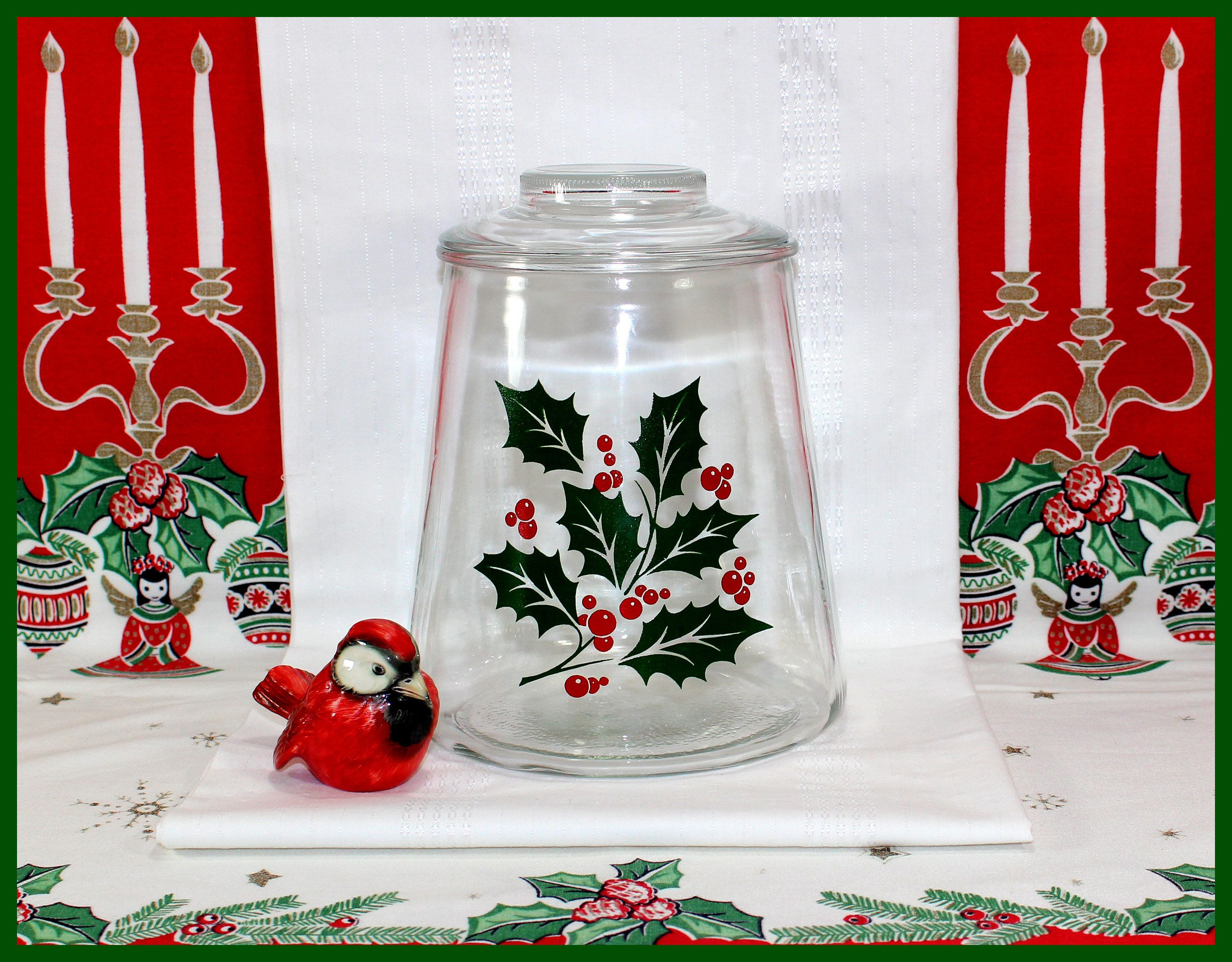 Bartlett Collins Christmas Holly Berry Cookie Jar, Glass lid ...