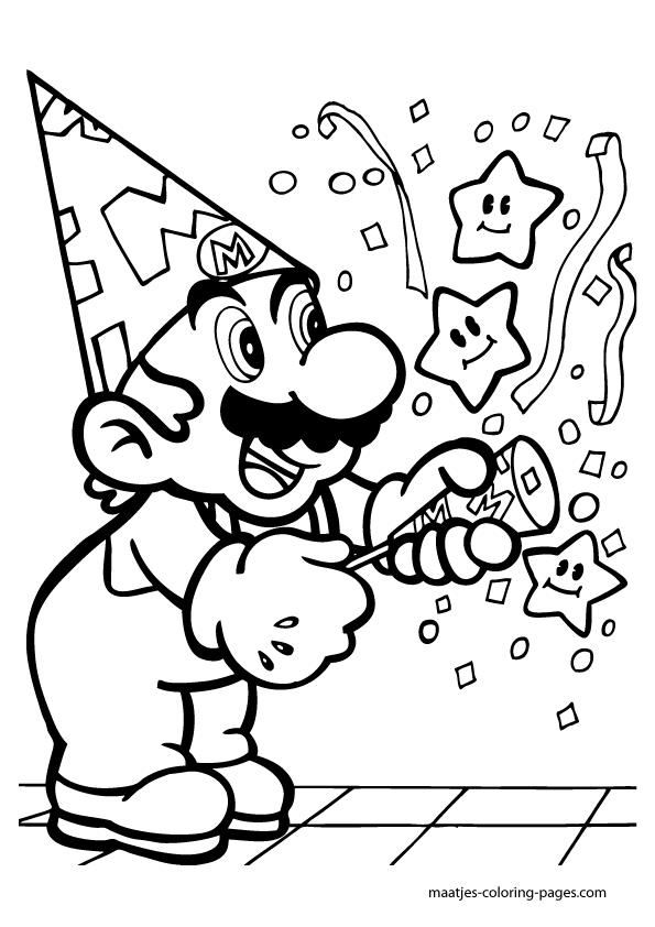 Super Mario anniversary birthday coloring pages   Birthday ...