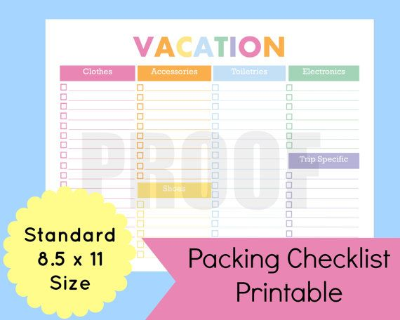 Organize your travel with this vacation packing checklist template - packing checklist template