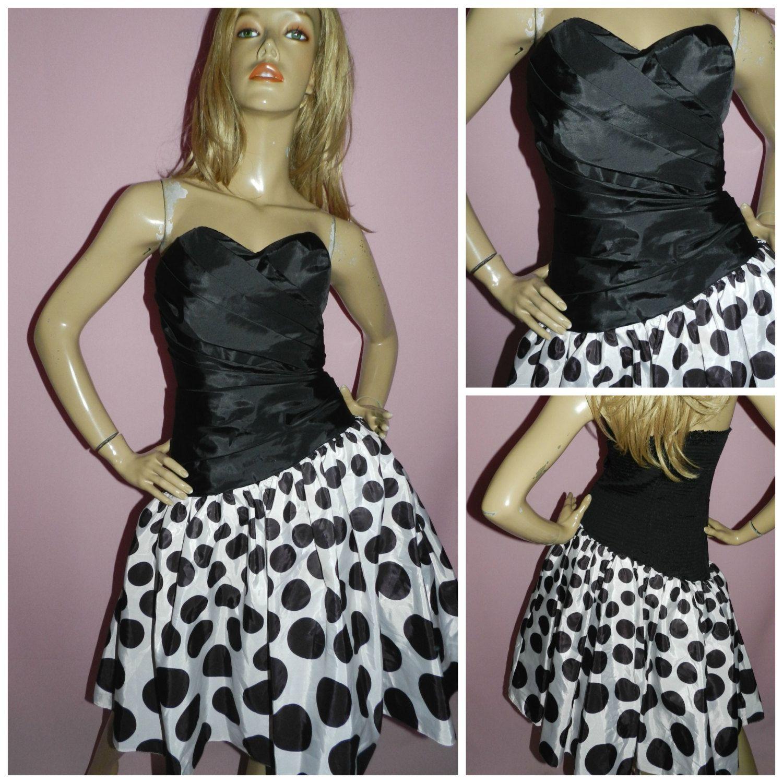 Vintage s blackwhite strapless polka dot prom party dress uk