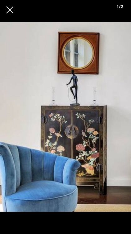 Antique 19th Century Hand Painted Black Lacquer Chinese Cabinet With Lovely  Jade, Soapstone And Other Gem Stone Carved Birds, Peonies And Cherry  Blossoms.