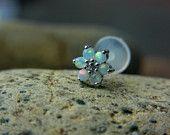 White Opal gems flower bio flexible labret / helix / cartilage earring (1pc)