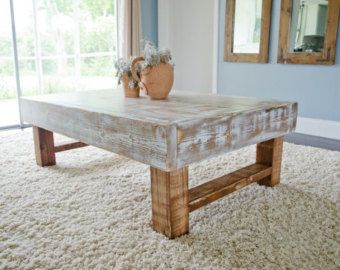 Rustic Coffee Table Farmhouse Whitewashed Distressed