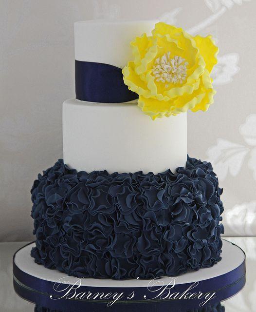 Navy Yellow Wedding Cake Cake Decorating Cakes For Weddings