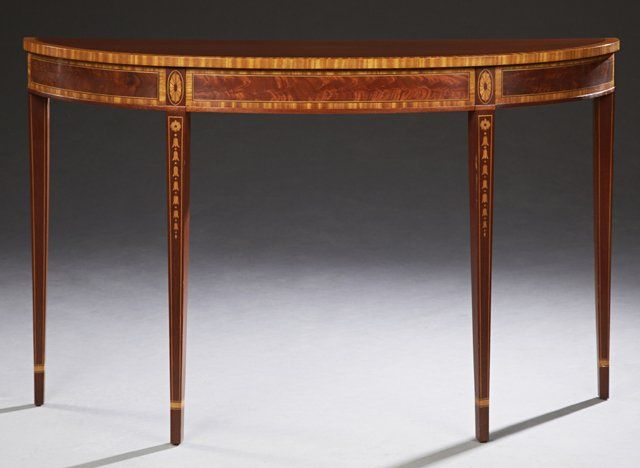 Console table SOLD $425 Georgian Style Banded Inlaid Mahogany Demilune  Console, ⚠️dealer pricing antique furniture, antique value, antique pricing,  ... - Georgian Style Banded Inlaid Mahogany Demilune Console On Antique