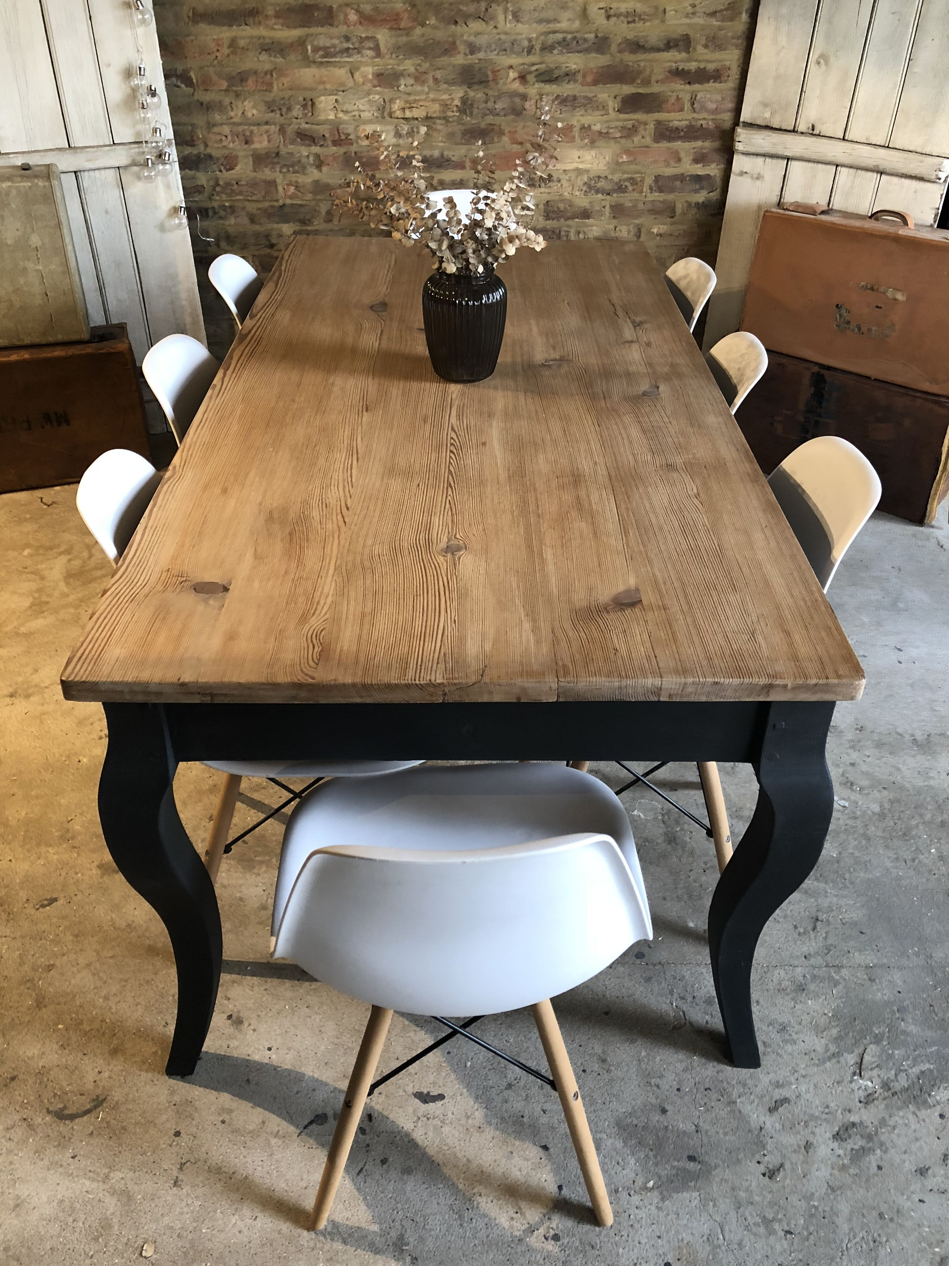 Rustic Louis Style Farmhouse Table In Annie Sloan Graphite Taylorgreyhomecouk