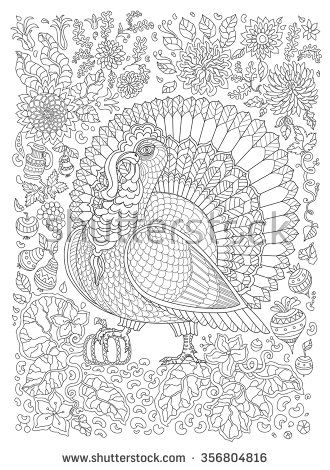 Zen tangle ornate bird, fantastic pumpkin flower. Thin line ornaments. Black and white.Vector decorative stylized turkey silhouette. Adults and children Coloring book page . T-shirt print.Batik paint