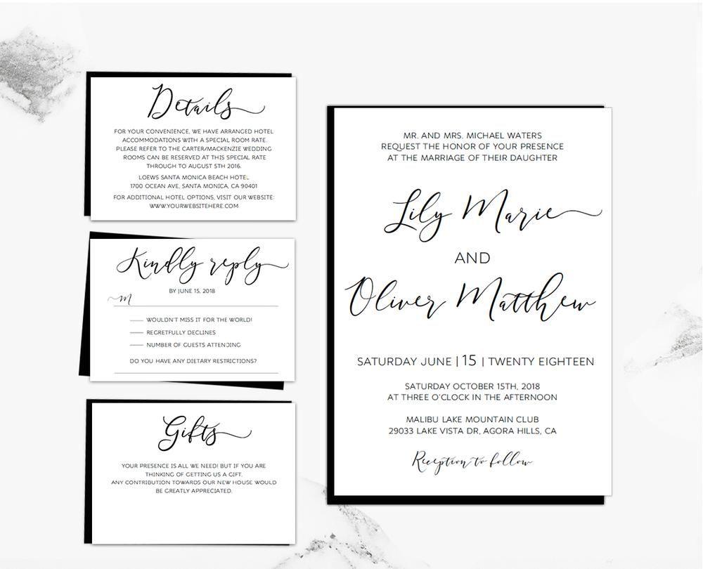 Black Loose Calligraphy DIY Editable and Printable Wedding ...