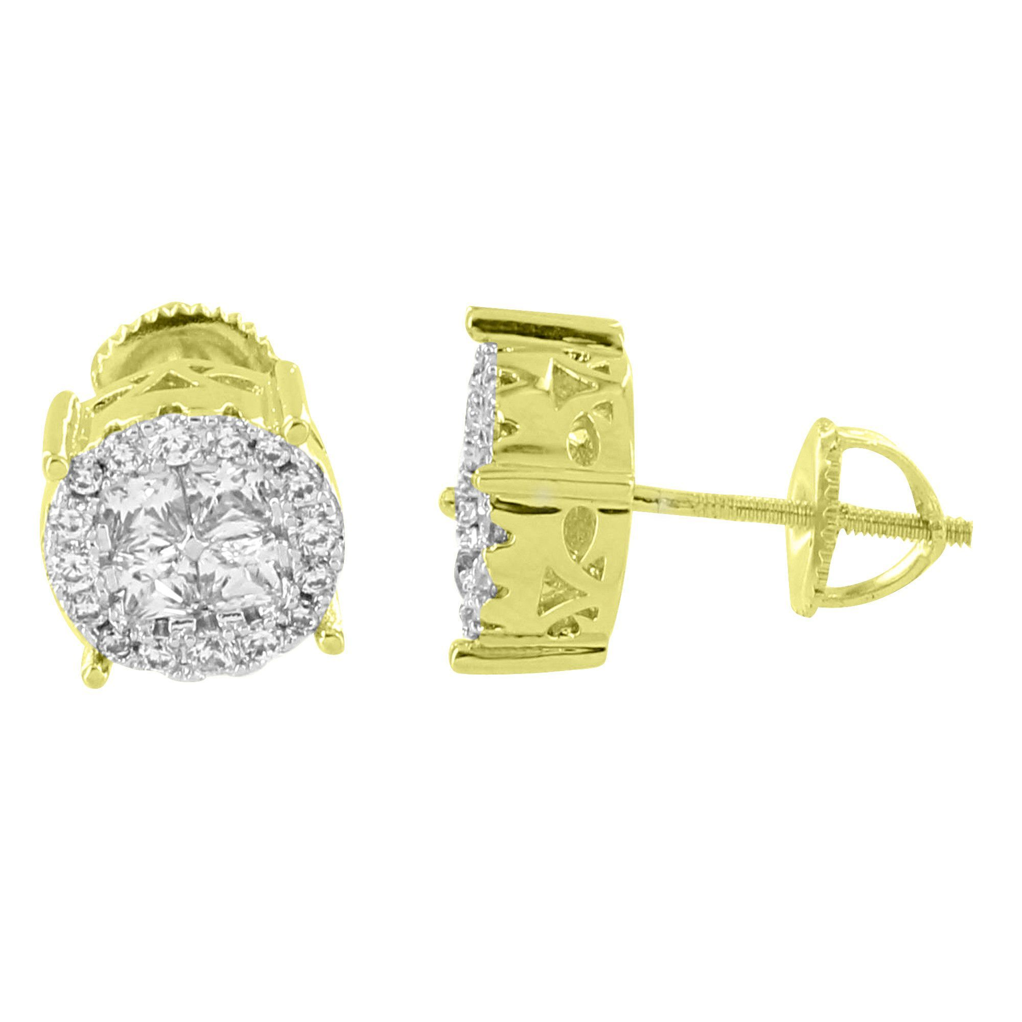 Solitaire Cluster Earrings Round Simulated Diamonds 14K Yellow Gold