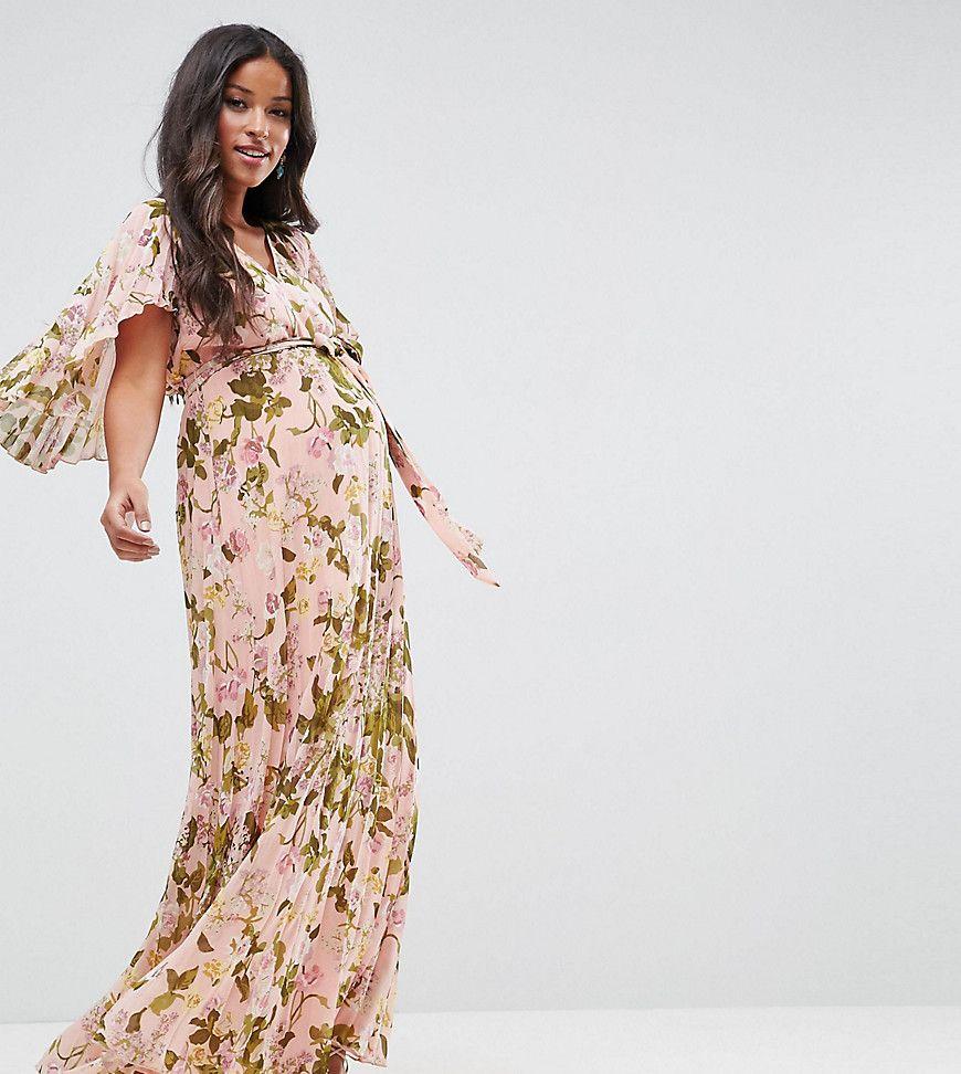 509725bdb1aca Asos Wedding Floral Embroidered Dobby Mesh Flutter Sleeve Maxi Dress ...