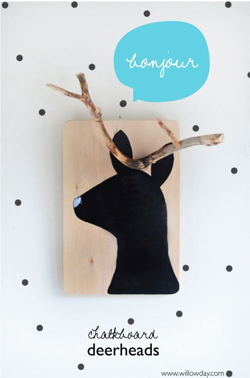 Make Deer Chalkboards  with driftwood + re-purposed cutting board | willowday