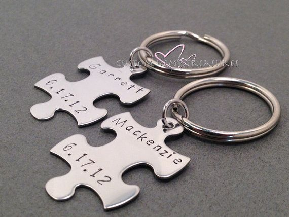 Name date personalized keychains anniversary gift couples